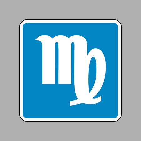 ecliptic: Virgo sign illustration. White icon on blue sign as background. Illustration