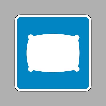 softy: Pillow sign illustration. White icon on blue sign as background. Illustration