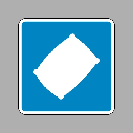 Pillow sign illustration. White icon on blue sign as background. Illustration