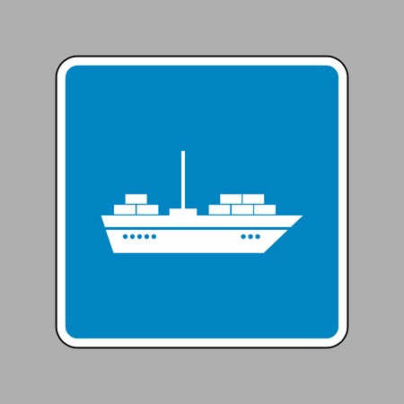 inflate boat: Ship sign illustration. White icon on blue sign as background.