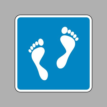 foot prints: Foot prints sign. White icon on blue sign as background.