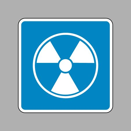 radiological: Radiation Round sign. White icon on blue sign as background.