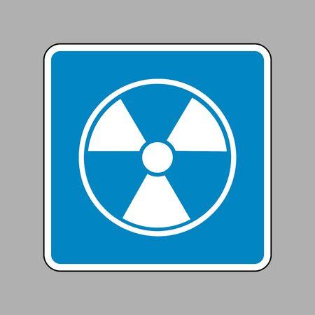 perilous: Radiation Round sign. White icon on blue sign as background.