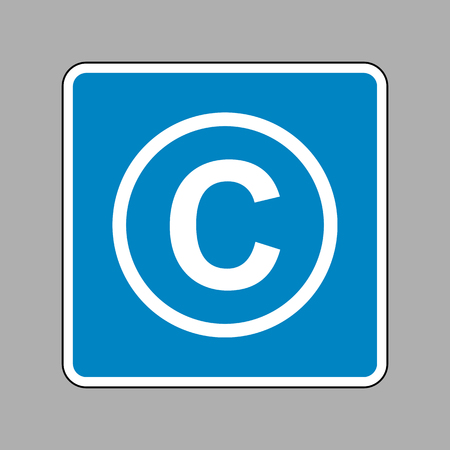 conventions: Copyright sign illustration. White icon on blue sign as background.