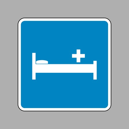 Hospital sign illustration. White icon on blue sign as background. Illustration