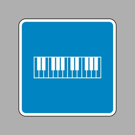 clavier: Piano Keyboard sign. White icon on blue sign as background.