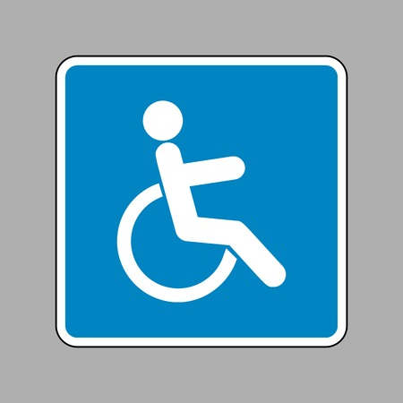 disabled sign: Disabled sign illustration. White icon on blue sign as background. Illustration