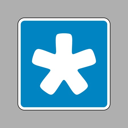 reference point: Asterisk star sign. White icon on blue sign as background.
