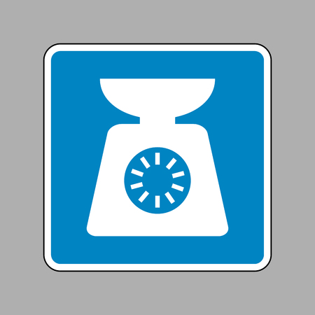 ounce: Kitchen scales sign. White icon on blue sign as background.