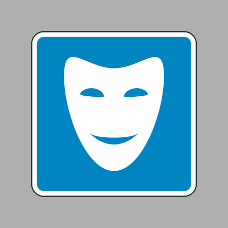 comedy background: Comedy theatrical masks. White icon on blue sign as background.