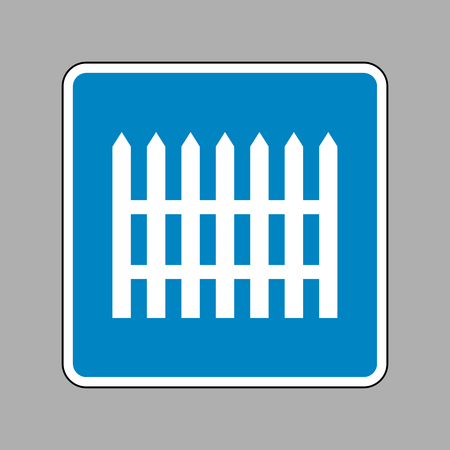 dissociation: Fence simple sign. White icon on blue sign as background.