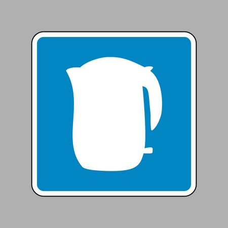 electric kettle: Electric kettle sign. White icon on blue sign as background. Illustration