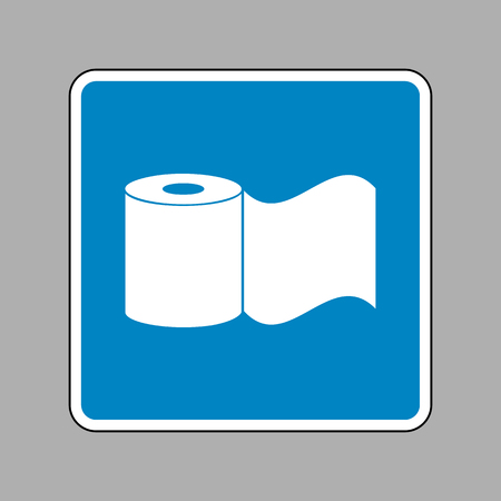 Toilet Paper sign. White icon on blue sign as background. Illustration