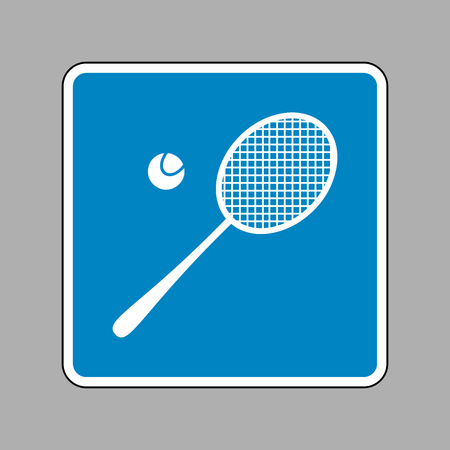 racquet: Tennis racquet sign. White icon on blue sign as background.