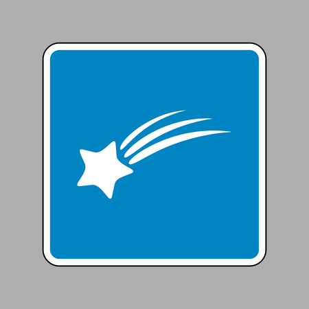 starfall: Shooting star sign. White icon on blue sign as background.