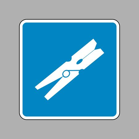 clothespeg: Clothes peg sign. White icon on blue sign as background. Illustration