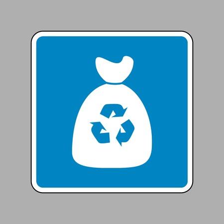 Trash bag icon. White icon on blue sign as background.
