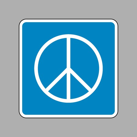 pacificist: Peace sign illustration. White icon on blue sign as background. Illustration