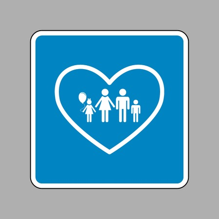 siloette: Family sign illustration in heart shape. White icon on blue sign as background.