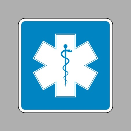 staff of aesculapius: Medical symbol of the Emergency or Star of Life. White icon on blue sign as background.