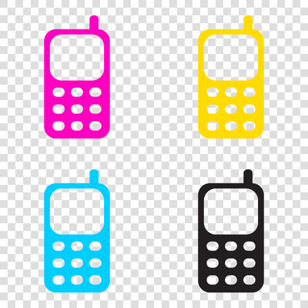 Cell Phone sign. CMYK icons on transparent background. Cyan, magenta, yellow, key, black. Illustration