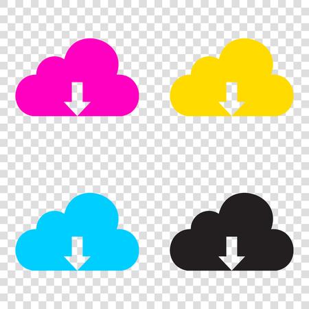 Cloud technology sign. CMYK icons on transparent background. Cyan, magenta, yellow, key, black.