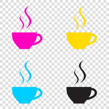 Cup of coffee sign. CMYK icons on transparent background. Cyan, magenta, yellow, key, black. Illustration