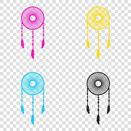 feathery: Dream catcher sign. CMYK icons on transparent background. Cyan, magenta, yellow, key, black.