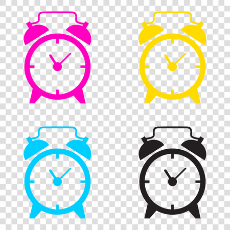 Alarm clock sign. CMYK icons on transparent background. Cyan, magenta, yellow, key, black. Illustration