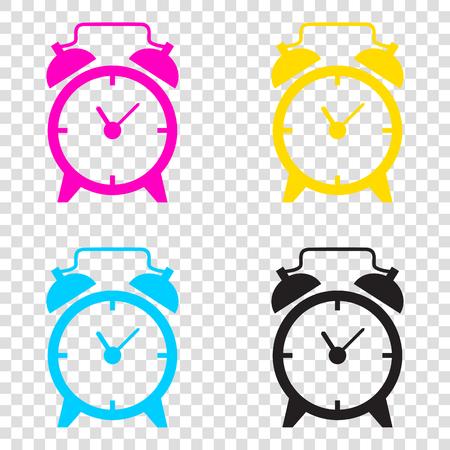 up time: Alarm clock sign. CMYK icons on transparent background. Cyan, magenta, yellow, key, black. Illustration