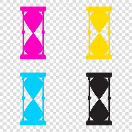 Hourglass sign illustration. CMYK icons on transparent background. Cyan, magenta, yellow, key, black.