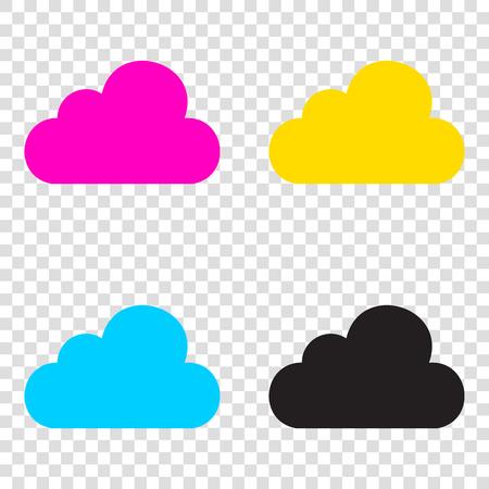 art processing: Cloud sign illustration. CMYK icons on transparent background. Cyan, magenta, yellow, key, black.