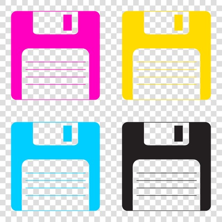 old pc: Floppy disk sign. CMYK icons on transparent background. Cyan, magenta, yellow, key, black. Illustration