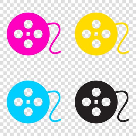 Film circular sign. CMYK icons on transparent background. Cyan, magenta, yellow, key, black. Illustration