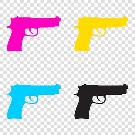 Gun sign illustration. CMYK icons on transparent background. Cyan, magenta, yellow, key, black.