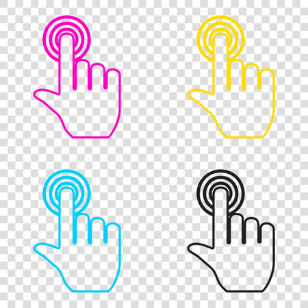 depress: Hand click on button. CMYK icons on transparent background. Cyan, magenta, yellow, key, black.