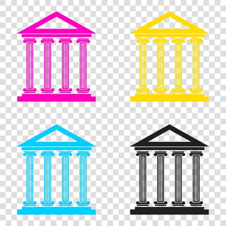 derecho romano: Historical building illustration. CMYK icons on transparent background. Cyan, magenta, yellow, key, black.