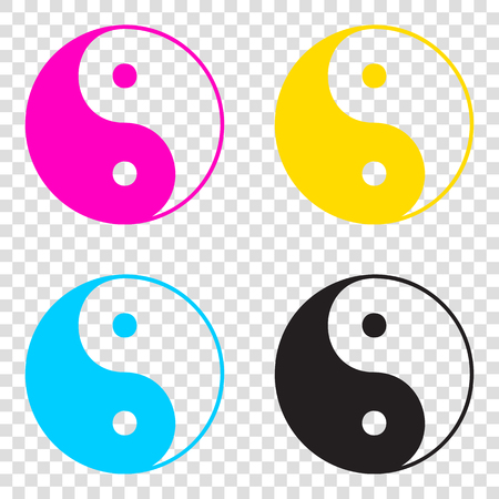 Ying yang symbol of harmony and balance. CMYK icons on transparent background. Cyan, magenta, yellow, key, black. Illustration