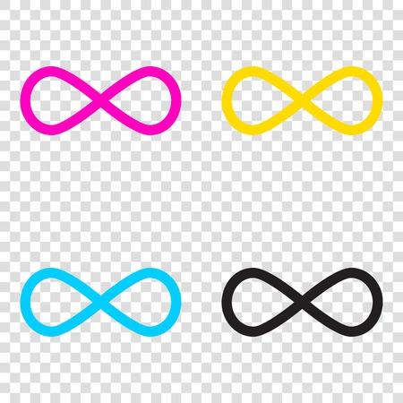 Limitless symbol illustration. CMYK icons on transparent background. Cyan, magenta, yellow, key, black.