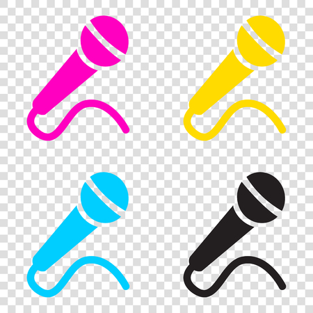 amplification: Microphone sign illustration. CMYK icons on transparent background. Cyan, magenta, yellow, key, black.