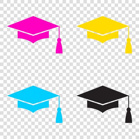 Mortar Board or Graduation Cap, Education symbol. CMYK icons on transparent background. Cyan, magenta, yellow, key, black. Illustration