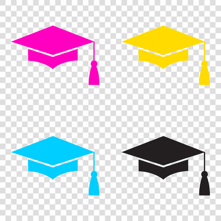 Mortar Board or Graduation Cap, Education symbol. CMYK icons on transparent background. Cyan, magenta, yellow, key, black. Illustration