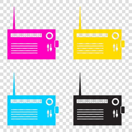 Radio sign illustration. CMYK icons on transparent background. Cyan, magenta, yellow, key, black.