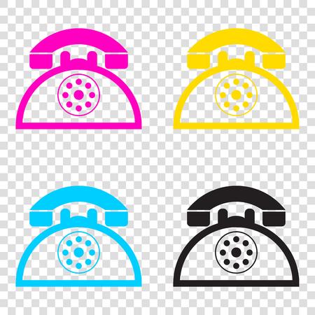 telephone icons: Retro telephone sign. CMYK icons on transparent background. Cyan, magenta, yellow, key, black. Illustration
