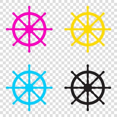Ship wheel sign. CMYK icons on transparent background. Cyan, magenta, yellow, key, black. Illustration