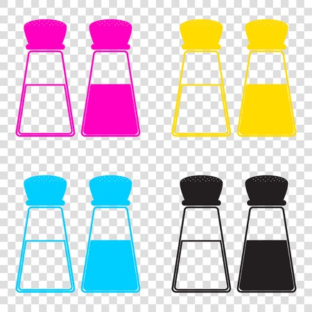 Salt and pepper sign. CMYK icons on transparent background. Cyan, magenta, yellow, key, black.