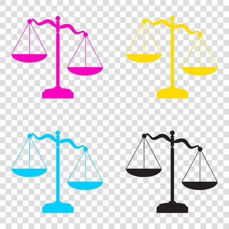 Scales of Justice sign. CMYK icons on transparent background. Cyan, magenta, yellow, key, black.