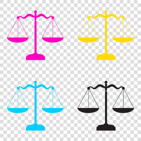 Scales balance sign. CMYK icons on transparent background. Cyan, magenta, yellow, key, black.