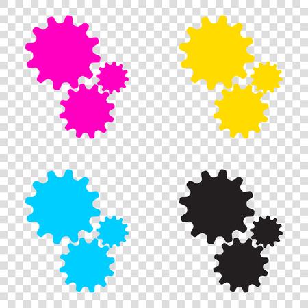 Settings sign illustration. CMYK icons on transparent background. Cyan, magenta, yellow, key, black.