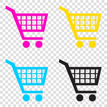 Shopping cart sign. CMYK icons on transparent background. Cyan, magenta, yellow, key, black. Illustration